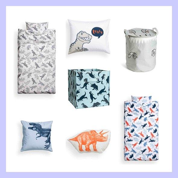 Textiles y complementos de dinosaurios en H&M Home