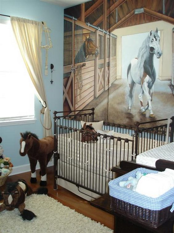 Habitaciones de bebés dedicadas a los caballos