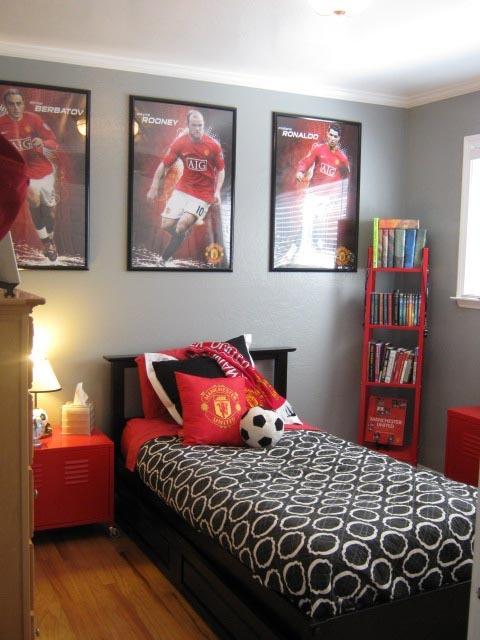 Dormitorio para fanáticos del futbol