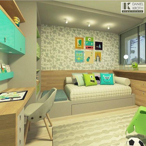 Un dormitorio inspirado en la película Monstruos SA