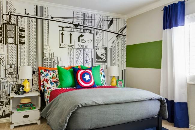 Habitaci n juvenil tem tica superh roes habitaciones for Mural habitacion juvenil