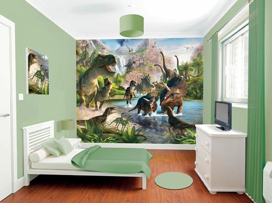 Mural infantil dinosaurios habitaciones tematicas for Vinilos para pared dormitorio juvenil