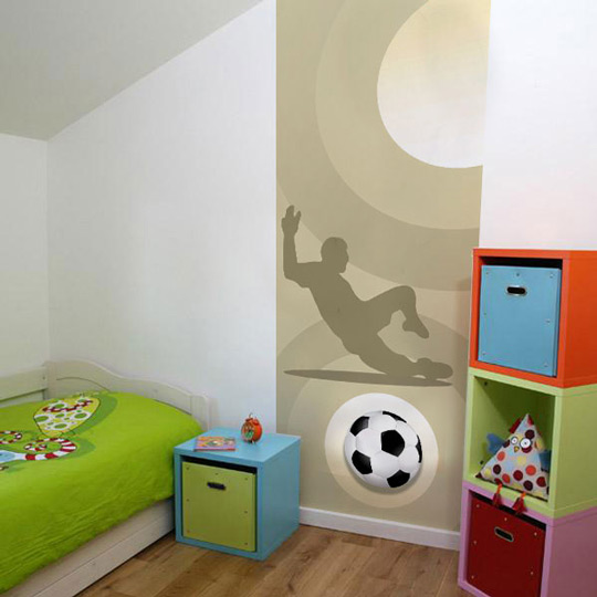 Murales de f tbol para ni os habitaciones tematicas for Mural para pared dormitorio