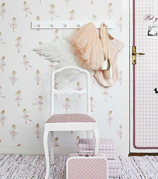 Papel pintado bailarinas boras tapeter habitaciones for Cuartos para ninas pintados
