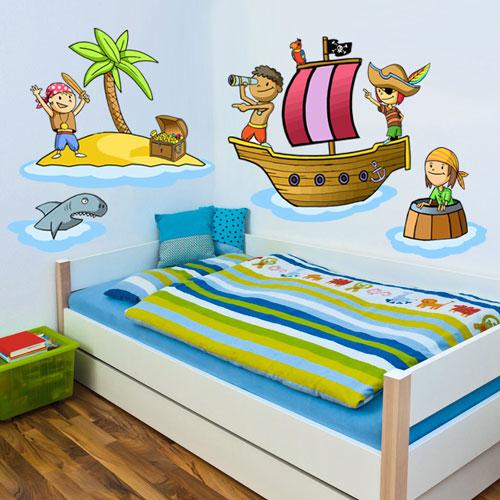 Vinilo infantil piratas habitaciones tematicas for Vinilos para decorar habitaciones infantiles
