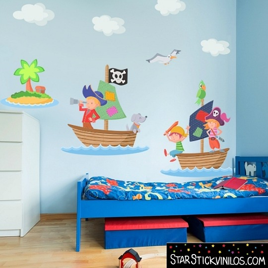 Piratas habitaciones tematicas for Decoracion pared bebes