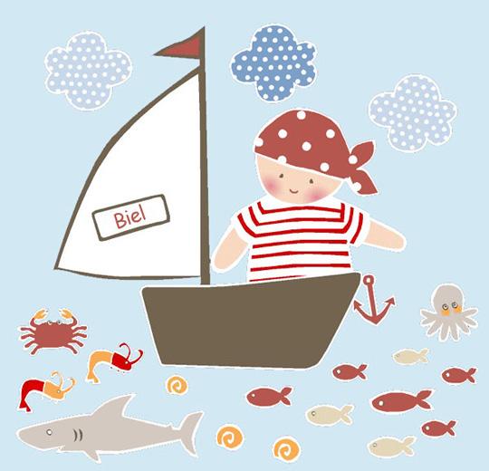 Vinilo pirata personalizable con el nombre habitaciones tematicas - Piratas infantiles imagenes ...